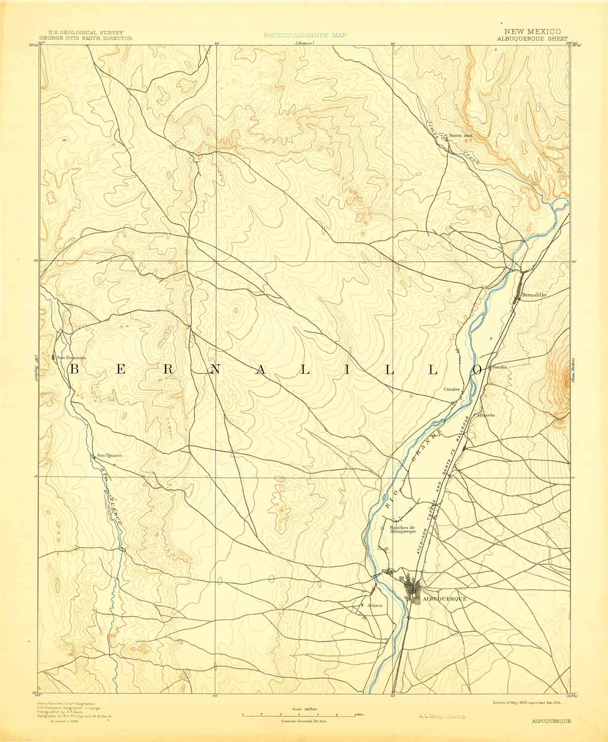 Collection C 007: USGS topographic map of Albuquerque, N.M., at the ...
