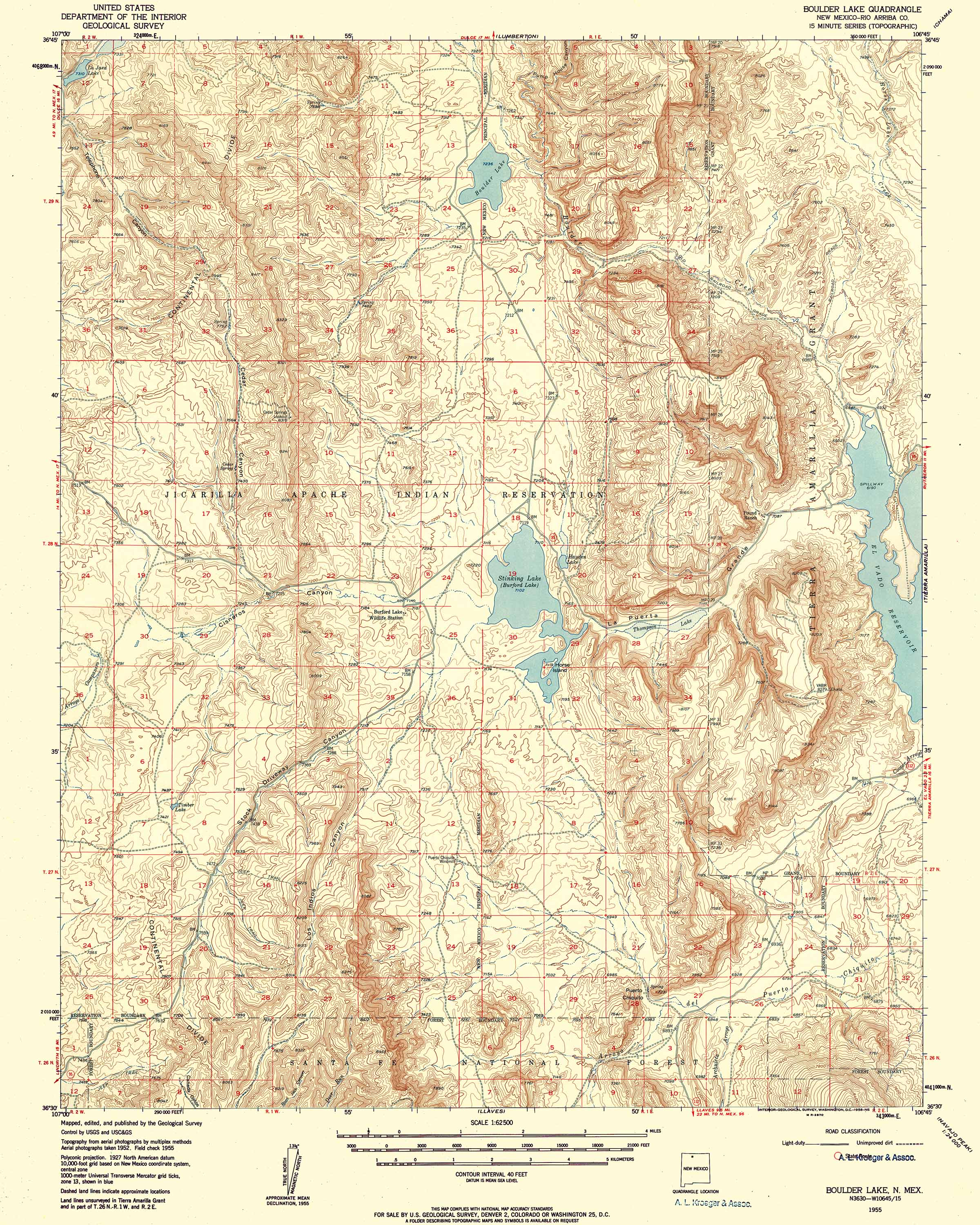 Collection C USGS Topographic Map Of Boulder Lake NM At - Topographical map of new mexico