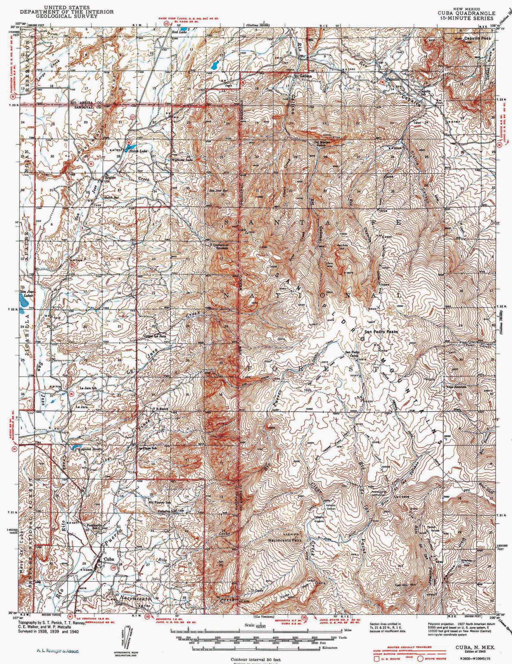 Collection C 007 Usgs Topographic Map Of Cuba N M At The Center