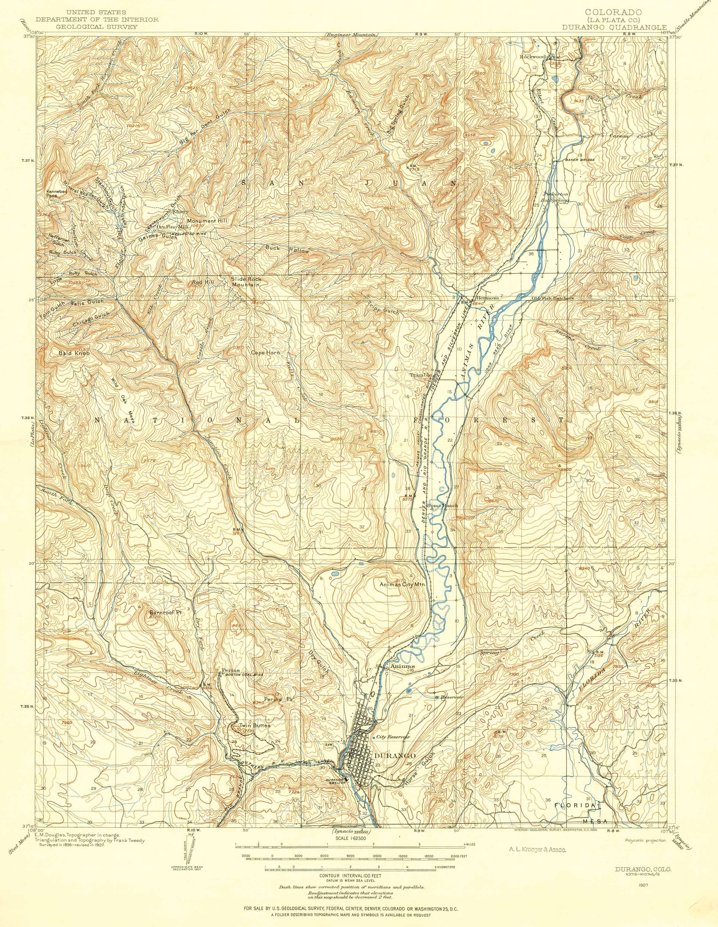 Collection C 007: USGS topographic map of Durango, CO., at the ... on
