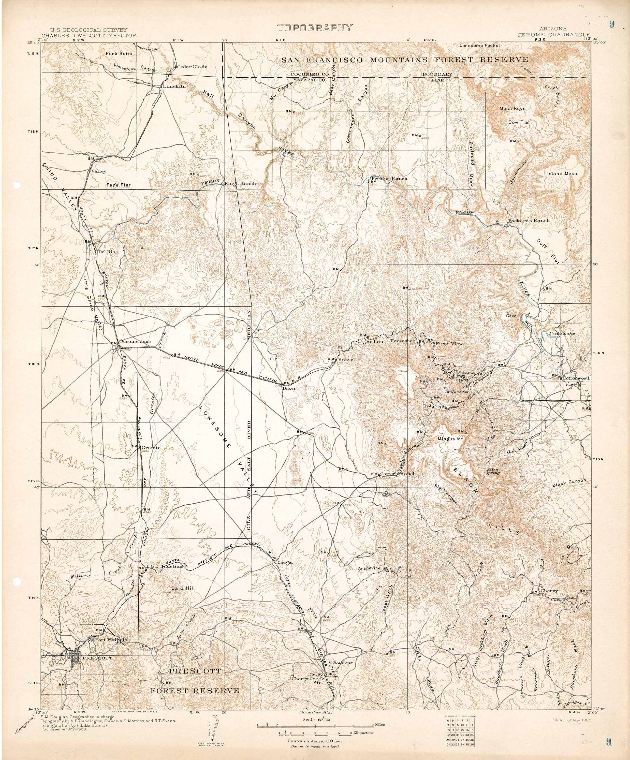 Map Of Arizona Jerome.Collection C 007 Usgs Topographic Map Of Jerome Az At The Center