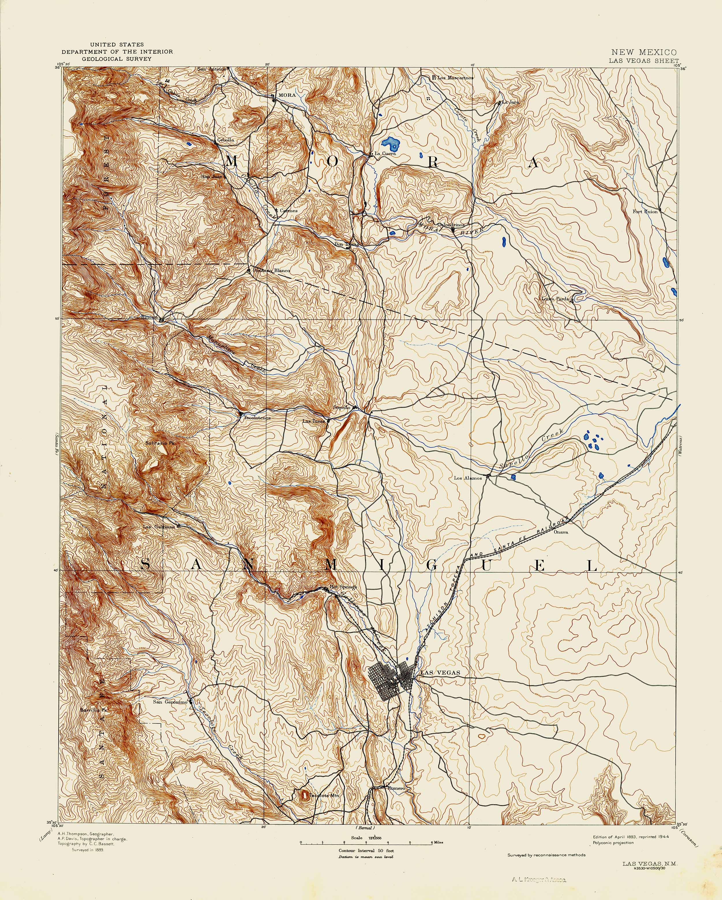 Collection C 007: USGS topographic map of Las Vegas, N.M., at the ...