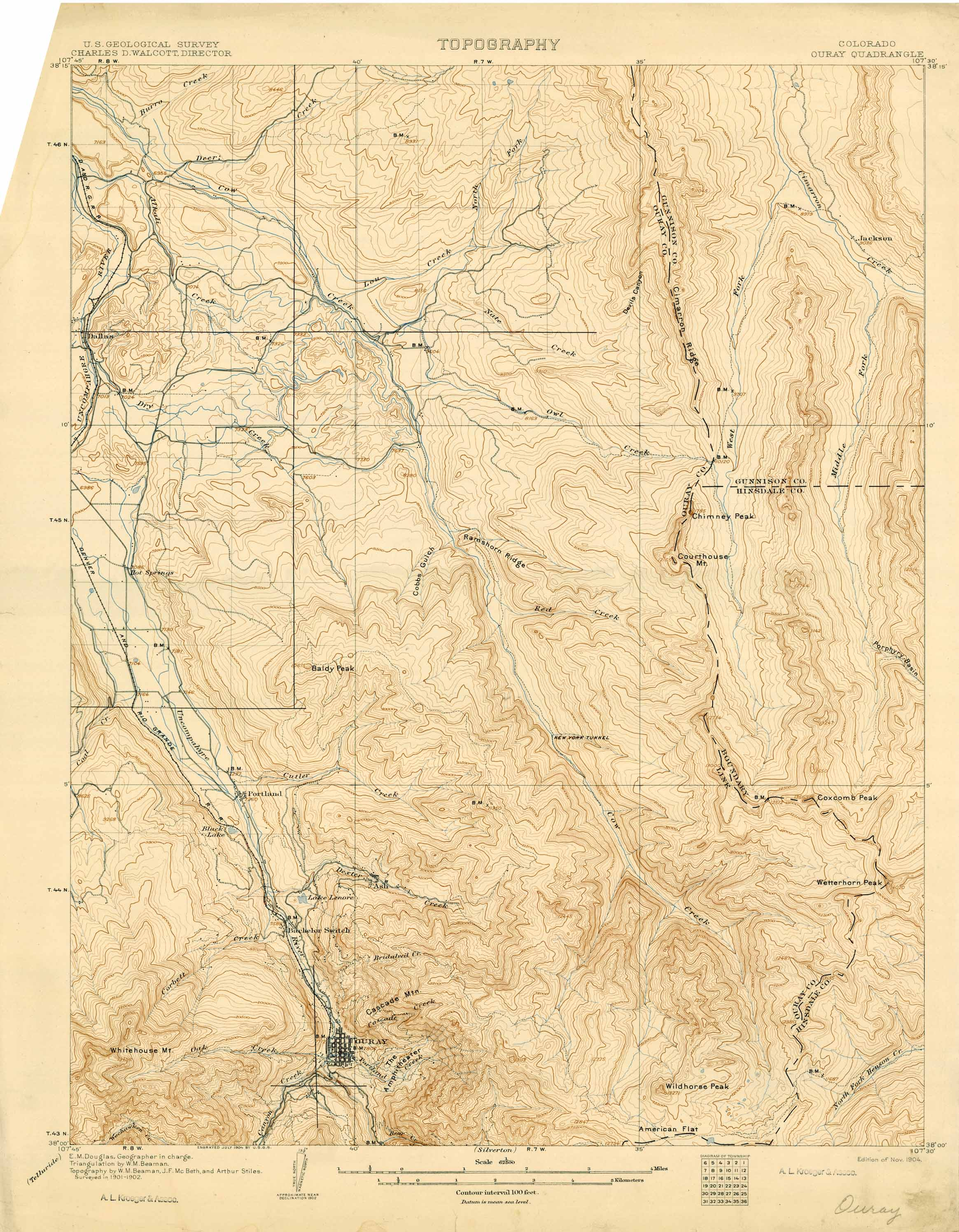 Collection C 007: USGS topographic map of Ouray, CO., at the Center ...