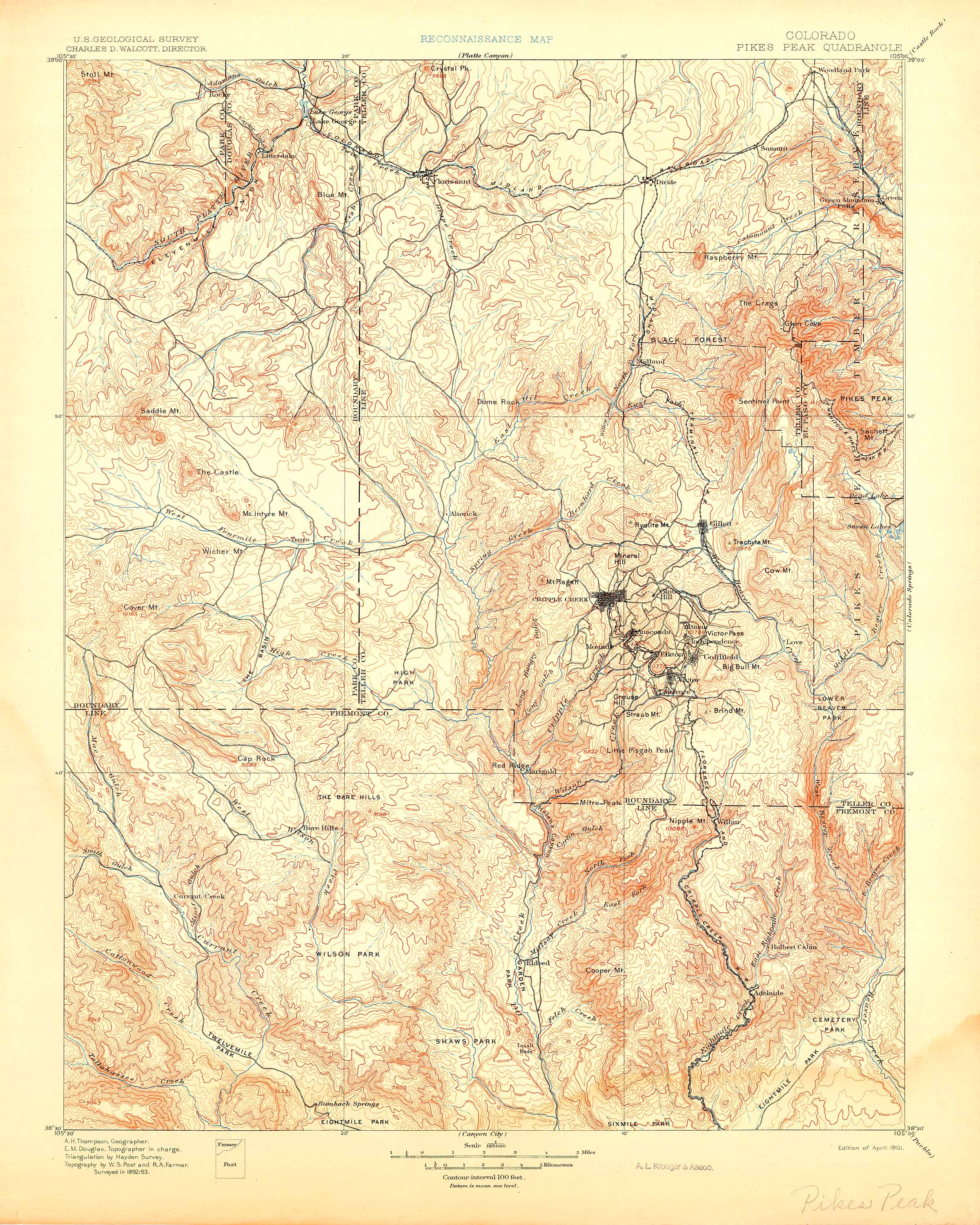 Topographic Map Colorado Springs.Collection C 007 Usgs Topographic Map Of Pikes Peak Co At The