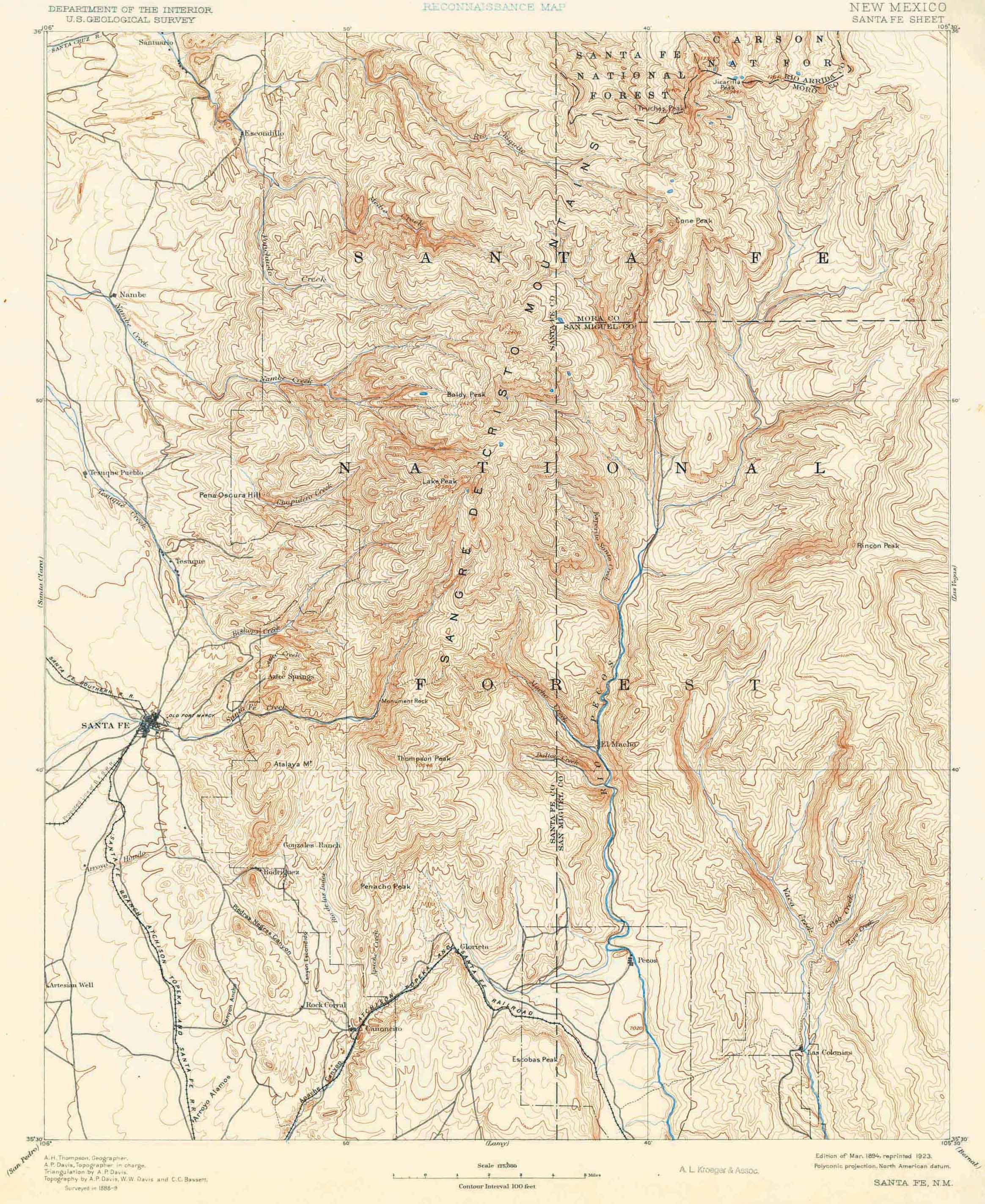 Collection C USGS Topographic Map Of Santa Fe NM At The - Santa fe on us map