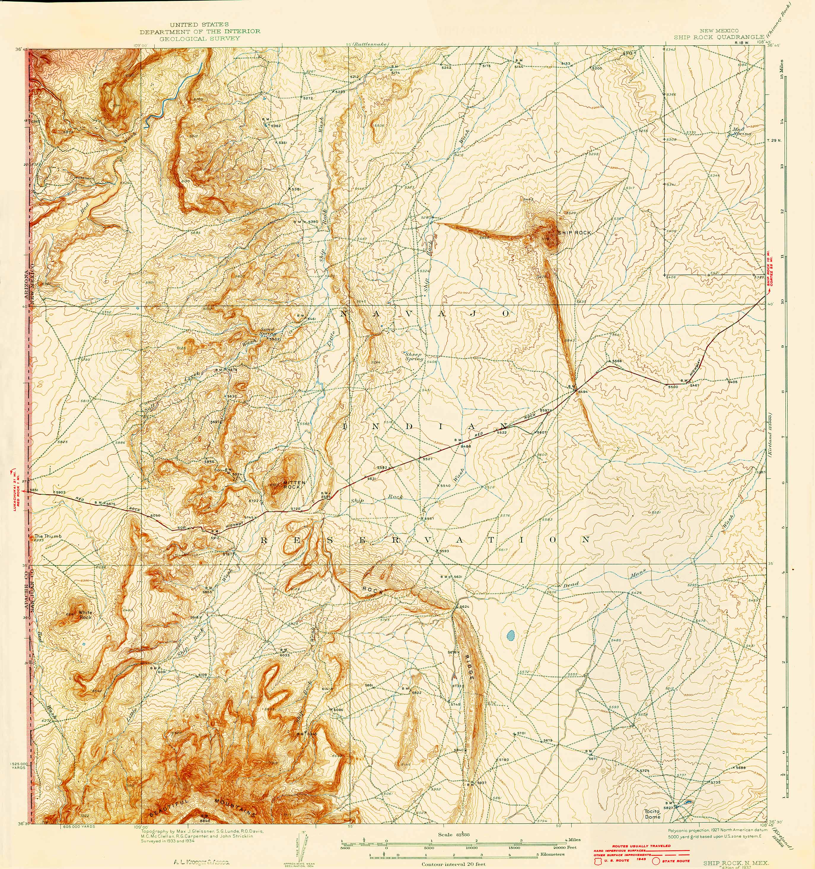 Collection C USGS Topographic Map Of Ship Rock NM At The - Topographical map of new mexico