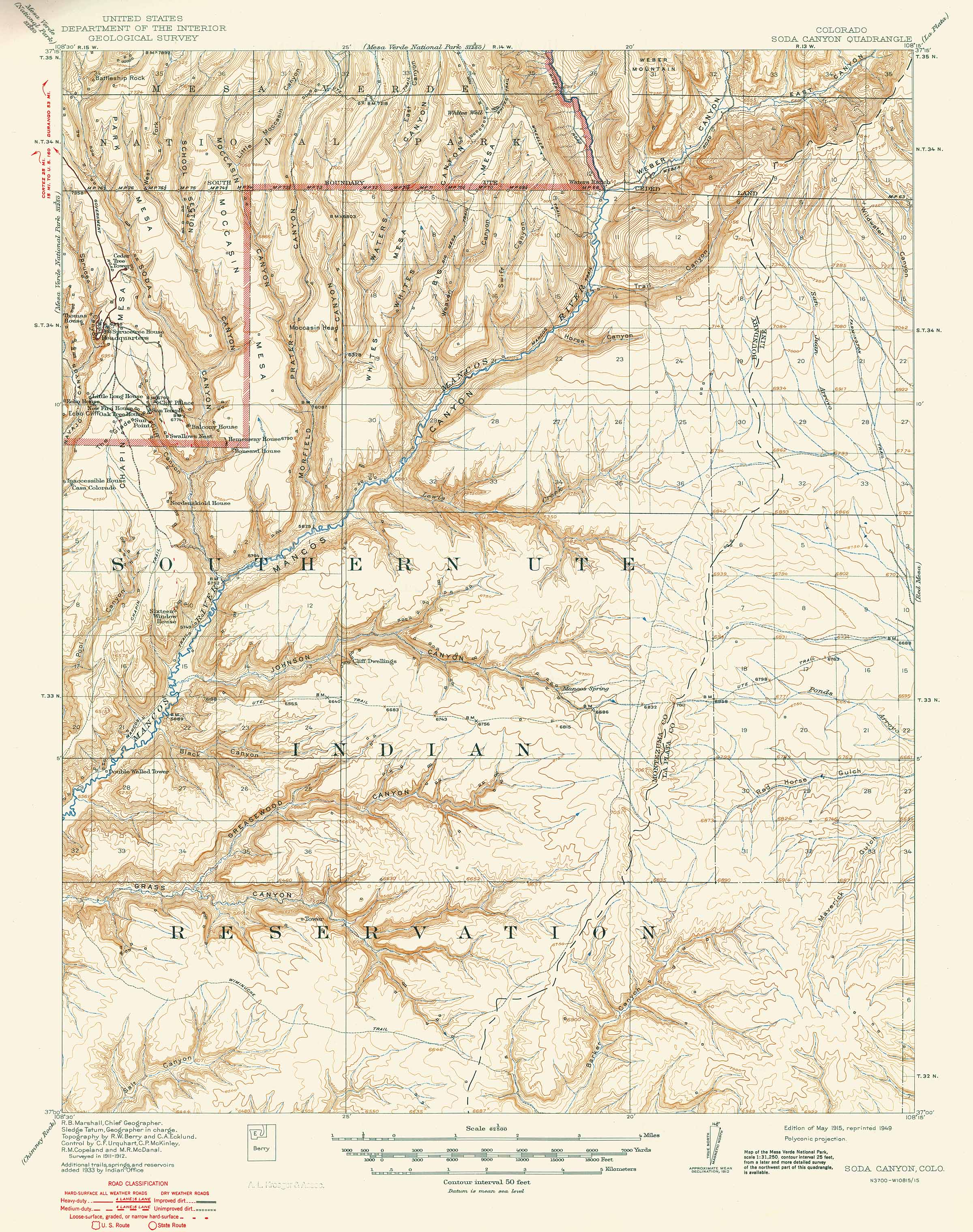 Collection C 007: USGS topographic map of Soda Canyon, CO ...