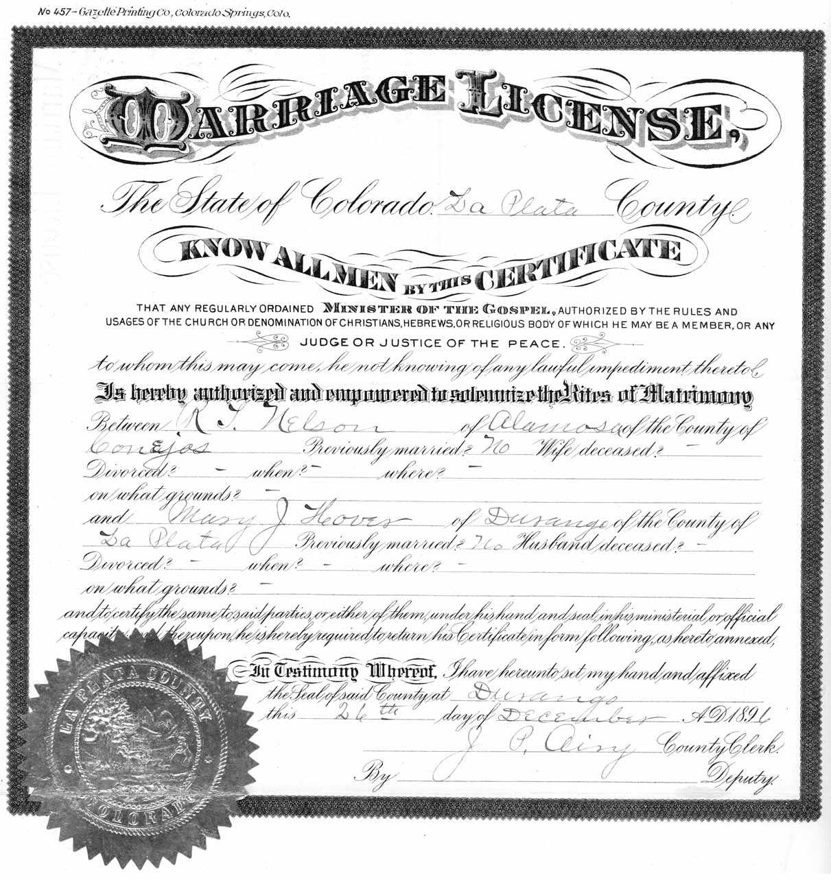 Untitled document 15 x 9 looks like front and back the front side has two forms on it the top form is the license the lower form is the certificate of marriage 1betcityfo Images